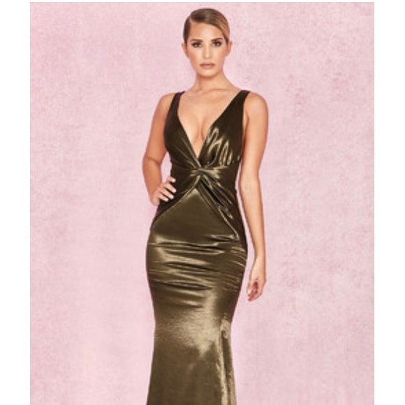 House of CB Olive Satin Maxi Dress